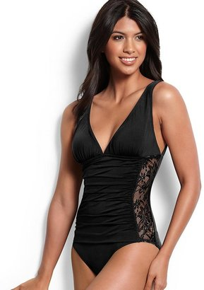 Tommy Bahama Lace V-Neck One-Piece Swimsuit with Wide Straps