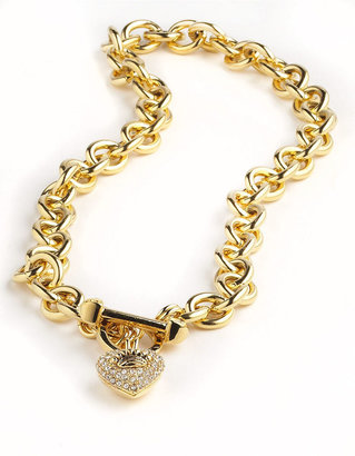 Juicy Couture Pave Heart and Toggle Luxe Necklace