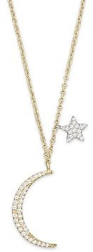 Meira T Diamond Moon Necklace in 14K Yellow Gold, .22 ct. t.w, 16