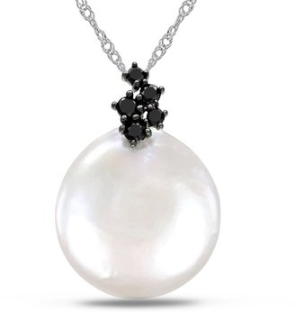 Black Diamond 1/7 Carat and Pearl 10K White Gold Pendant w/Chain By Michiko