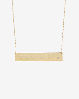 Jennifer Zeuner Jewelry Diamond Detail Believe Plate Necklace
