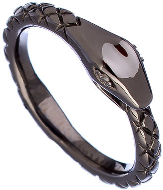 Mystic Light Silver and Diamond Snake Ring