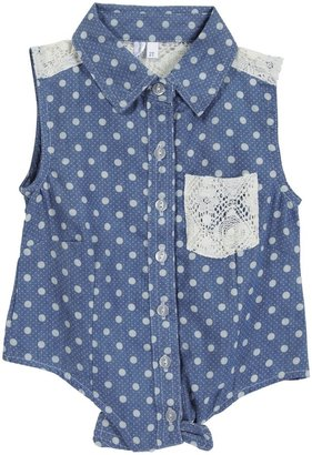 Gingham Lacey S/L Woven Top - Denim Dot-2T