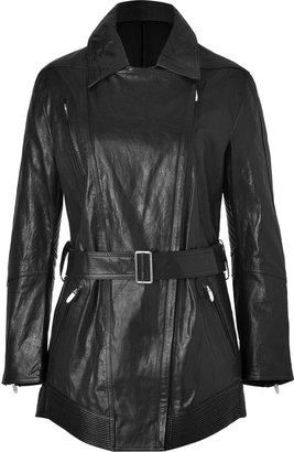 Theyskens' Theory Theyskens Theory Black Leather Macall Coat