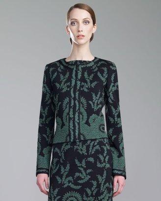 St. John Plume Floral Brocade Jacket, Caviar/Green