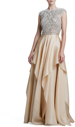Naeem Khan Beaded-Bodice Ruffle-Skirt Ball Gown