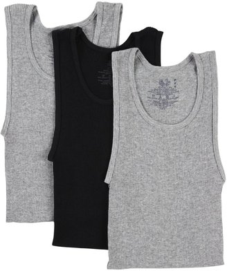 Fruit of the Loom Athletic Shirt - Assorted, 3 pk-Gray/Black-Small
