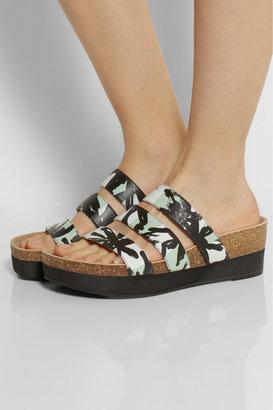 Kenzo Palm tree-print leather wedge sandals