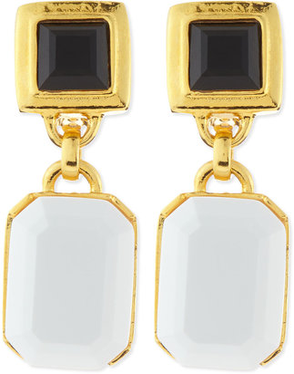 Jose & Maria Barrera Black/White Facet Clip-On Earrings