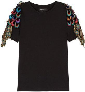 RAGYARD Peacock Feather-appliqued Cotton T-shirt