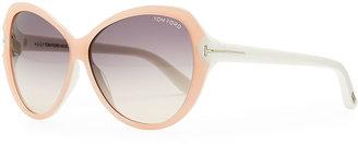 Tom Ford Valentina Acetate Cat-Eye Sunglasses, Pink/Ivory