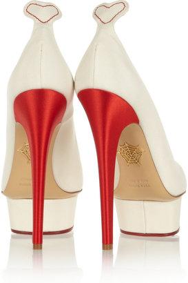 Charlotte Olympia Love Dolly silk-twill pumps