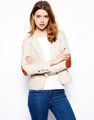 Glamorous Blazer with Elbow Patches - Cream