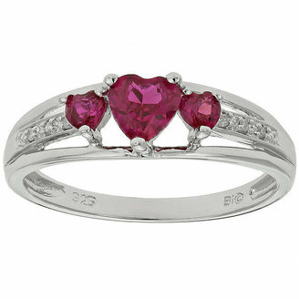 FINE JEWELRY Lab-Created Ruby & Diamond-Accent Heart-Shaped 3-Stone Sterling Silver Ring