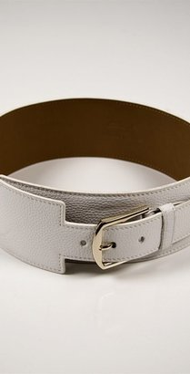 Elise M Collection Gwen Wide Belt in White