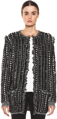 Chloé Long Fringed Cardigan in Black