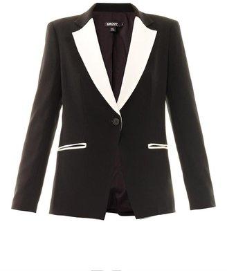 DKNY Contrast Lapel Crepe Jacket
