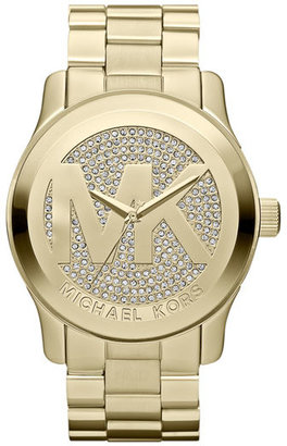 Women's Michael Kors 'Runway' Logo Dial Bracelet Watch, 45Mm $295 thestylecure.com