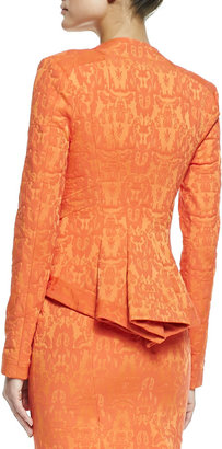 Zac Posen ZAC Long Sleeve Ruffle Front Jacket, Flame