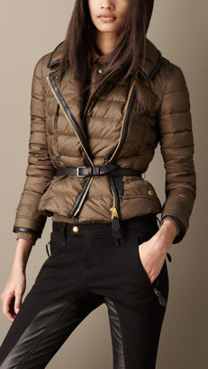 Burberry Down-Filled Leather Trim Puffer