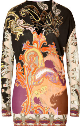 Etro Printed Jersey V-Neck Pullover