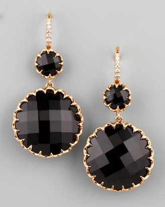 Ivanka Trump Rose Gold Black Onyx Drop Earrings on Diamond French Wire