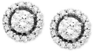 Arabella 14k White Gold Earrings, Swarovski Zirconia Round Pave Stud Earrings (2-7/8 ct. t.w.)