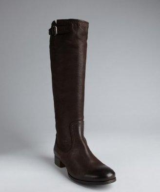Prada ebony antic leather knee high riding boots