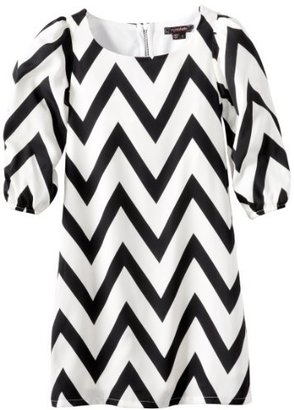 My Michelle Girls 3/4 Sleeve Zig-Zag Shift Dress with Exposed Zipper