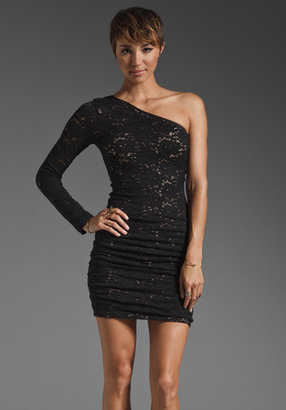 BCBGMAXAZRIA One Shoulder Mini Lace Dress