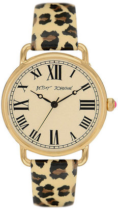 Betsey Johnson Ladies' Leopard Strap Mop Dial Watch