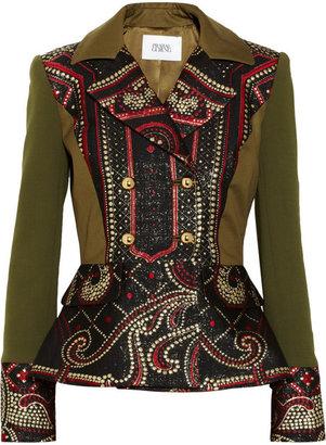 Prabal Gurung Metallic brocade and stretch-wool peplum jacket