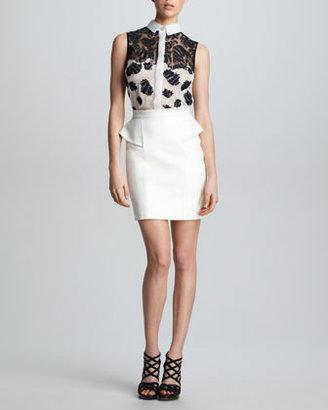Jason Wu Leather Peplum Skirt, White