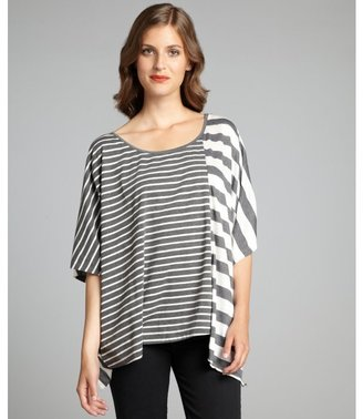 The Cue white and slate striped cotton buckled short sleeve t-shirt