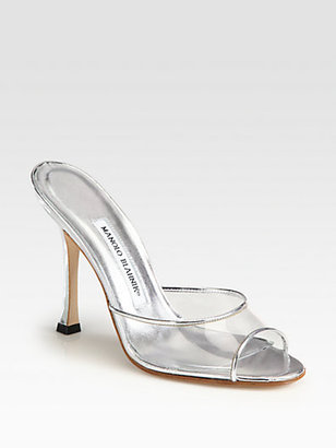 Manolo Blahnik Astuta Translucent Metallic Leather Mules
