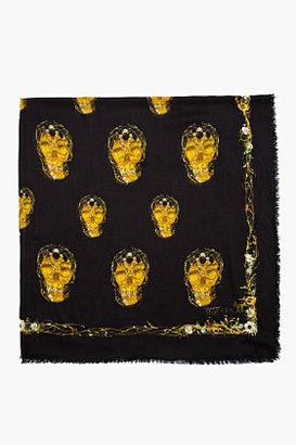 Alexander McQueen Washed black gold skull Rhombic scarf