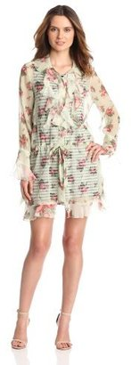 Anna Sui Women's Cabbage Rose Print Crinkle And Rosebud Stripe Shirtdress