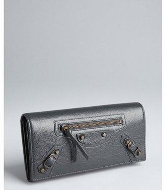 Balenciaga grey pebbled leather snap continental wallet