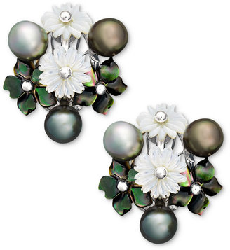 Mother of Pearl Sterling Silver Earrings, Cultured Tahitian Pearl and Cultured Freshwater Flower Earrings