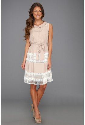 Suzi Chin for Maggy Boutique - Lace Inset Shirt Dress (Oatmeal) - Apparel