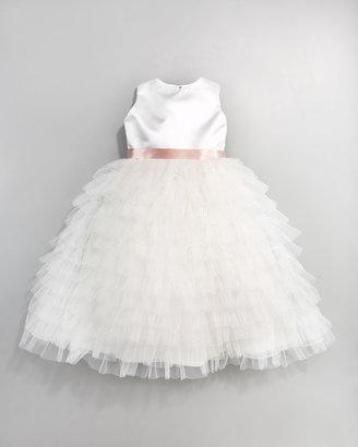 Joan Calabrese Ruffled Chiffon & Satin Dress