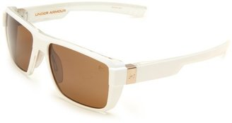 Under Armour Recon Crystal Clear with White Front Spray Frame, Frosted Clear Rubber and Brown Multiflection Lens