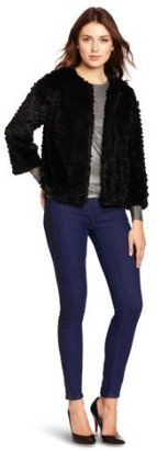 Kensie Women's Cut Faux Fur Jacket