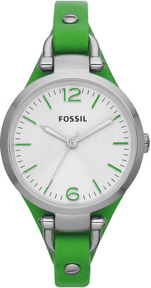 Fossil Ladies' Georgia Silver-Tone & Leather Watch
