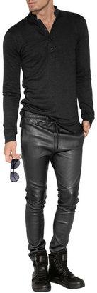Balmain Leather Drawstring Pants in Black