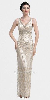 Sue Wong Art Deco V-neck Column Evening Dresses