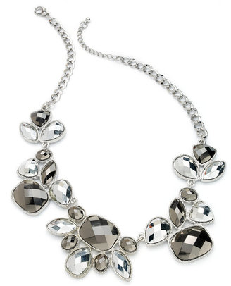 Style&Co. Necklace, Silver-Tone Hematite Stone Statement Necklace