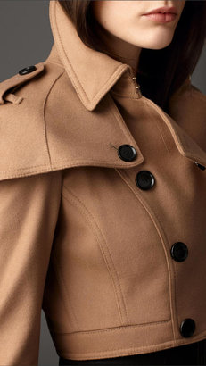 Burberry Cropped Cashmere Blend Trench Jacket