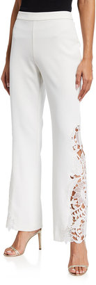 Badgley Mischka Lace-Side Boot-Cut Crepe Pants