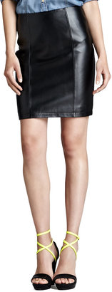 Neiman Marcus Cusp by Leather Pencil Skirt, Black